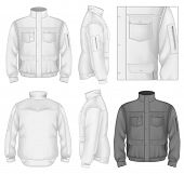 Photo-realistic vector illustration. Men's flight jacket design template (front view, back and side views). Illustration contains gradient mesh.