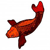 picture of koi tattoo  - retro illustration japanese koi carp tattoo - JPG