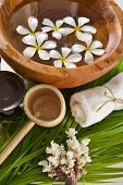 picture of frangipani  - White frangipani in wooden bowl of with spoon - JPG