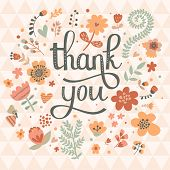 Thank you! Bright cartoon card made of flowers and butterflies. Floral background in pink colors Ã?Â