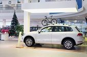 MOSCOW - JAN 11: Hall with cars and the Christmas tree in Volkswagen Varshavka Center on January 11,