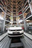MOSCOW - JAN 11: The Volkswagen Golf in center of premise for storage cars in Volkswagen Center Vars
