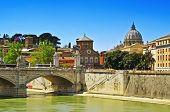 ROME, ITALY - APRIL 18: View of Ponte Vittorio Emanuele II on April 18, 2013 in Rome, Italy. The bri