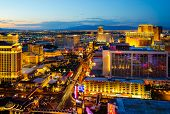 LAS VEGAS - AUGUST 14: An aerial view of Las Vegas Strip on August 14, 2012 in Las Vegas, Nevada. Th