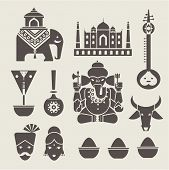 stock photo of indian elephant  - Vector set of indian travel icons - JPG