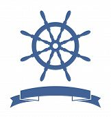 stock photo of ship steering wheel  - Ship Wheel Banner isolated on white background - JPG