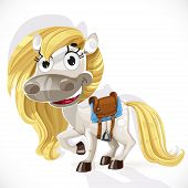 Cute Cartoon White Baby Horse