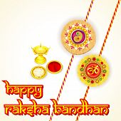 picture of rakhi  - vector illustration of rakhi pooja thali for Raksha Bandhan - JPG
