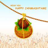image of mahabharata  - illustration of Happy Janmashtami with hanging dahi handi - JPG
