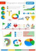 Infografiken SPORT Entwurfsvorlage. Graphen, Diagramme, Diagramm, Symbole. Statistiken, Analysen für busines