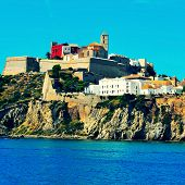 view of Sa Penya district and Dalt Vila district, the old town of Ibiza Town, in Balearic Islands, S