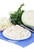 Marinated cabbage (sauerkraut), isolated on white