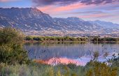 Goose lake by route 66 in Arizona during sun set time