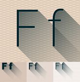 Vector illustration of flat modern long transparent shadow alphabet. Letter f