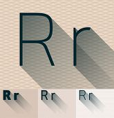 Vector illustration of flat modern long transparent shadow alphabet. Letter r