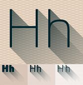 Vector illustration of flat modern long transparent shadow alphabet. Letter h