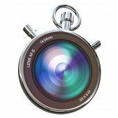 Camera lens set in a chronometer