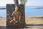 Bas-relief At The Beach Temple In Rayong
