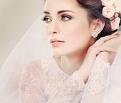 image of lace  - Portrait of beautiful bride - JPG