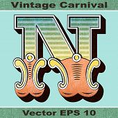 The Letter N of an Alphabet Sit of Vintage, Carnival, Circus, Funfair, Fishtail Letters and Numbers.