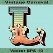 The Letter L of an Alphabet Sit of Vintage, Carnival, Circus, Funfair, Fishtail Letters and Numbers.