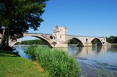 image of avignon  - The Saint Benezet bridge on Rhone river in Avignon Provence France - JPG