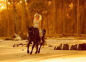 image of bareback  - woman in medieval dress on arabian horse on forest beach - JPG
