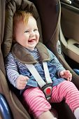 Baby Sitting Happily In Car Seat