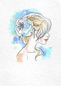 Wedding watercolor bride bride with beautiful styled hair with space for text