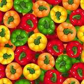 Vector seamless background with bell peppers.