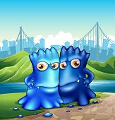 Illustration of the two monsters in the city