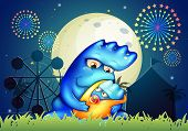 Illustration of a mother monster pacifying her child near the carnival