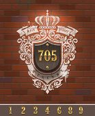 Vintage home number sign with painted heraldic on brick wall - vector illustration