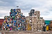 Piles of colorful plastic waste on a recycling site