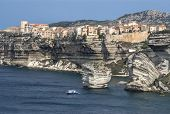 Beautiful Old Village Of Bonifacio (corsica Island, France), Suspended Over Amazing Cliffs