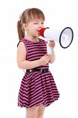 Beautiful little girl holding bullhorn isolated on white