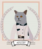 Stylish hipster cat illustration -Fashion background