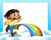 Illustration of an empty template with a young girl running and a rainbow