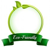Illustration of a round empty template with an eco-friendly label at the bottom on a white backgroun