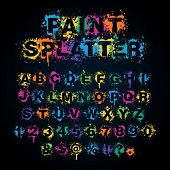 Colorful paint splatter alphabet set
