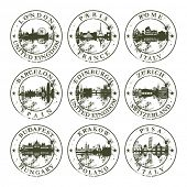 Grunge rubber stamps with London, Paris, Rome, Barcelona, Edinburgh, Zurich, Budapest, Krakow and Pi