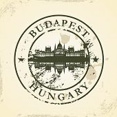 Grunge rubber stamp with Budapest, Hungary - vector illustration