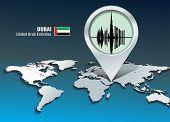 Map pin with Dubai skyline - vector illustration