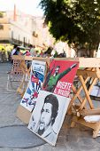 HAVANA,CUBA - JANUARY 20, 2014: Posters with revolutionary slogans for sale at a street market in Ol