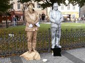 Living statues in street of Prague