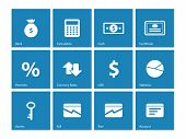 Economy icons on blue background.