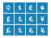 Exchange Rate icons on blue background