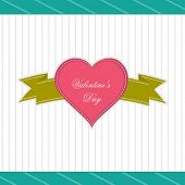 Happy Valentines Day concept with beautiful badge with green ribbon on vintage grey background.