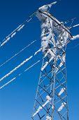 snowy electric poles in navacerrada madrid spain Europa,
