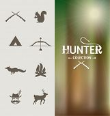 Hunter icons collection. Set of graphic elements.
